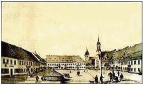 Marktplatz um 1860, nach einer Lithographie von R. Willard
